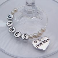 Best Man Wine Glass Charms